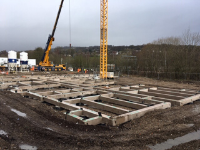 SMARTFOOT® precast ground beam installation for a retirement village in North Yorkshire