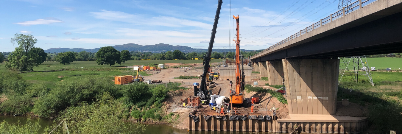 Van Elle install foundations for bridge abutments for new footbridge in Worcestershire