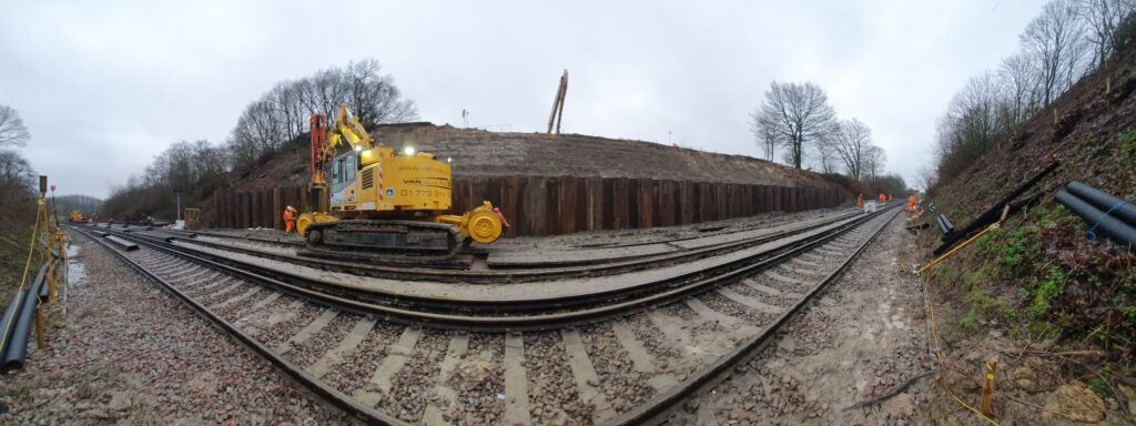 Panoramic photo of Van Elle rig on the railway after carrying out emergency on-track sheet piling